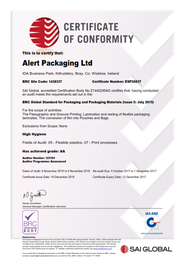 Alert Packaging Ltd BRC Certificate 2016