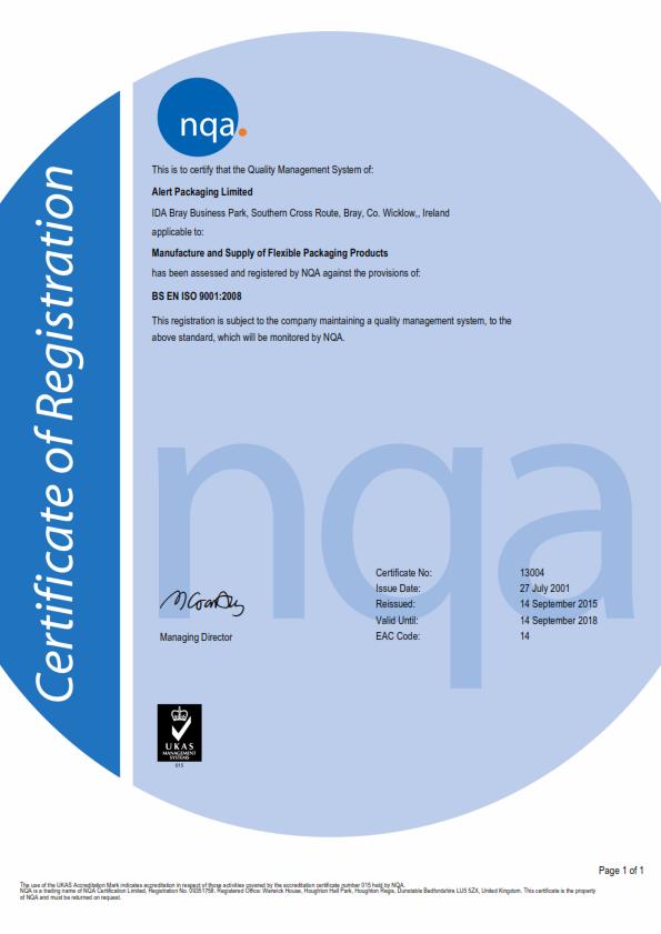 Alert Packaging Ltd ISO Certificate 2015-2018