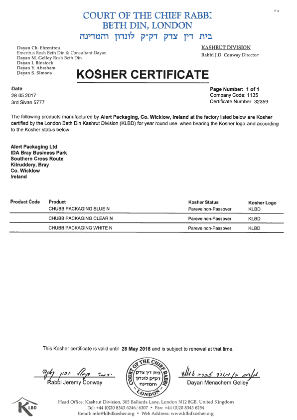Alert Packaging Ltd. Kosher Certificate 2017