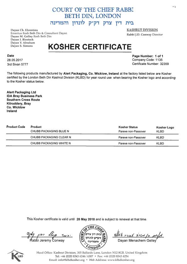 Alert Packaging Ltd. Kosher Certificate 2017