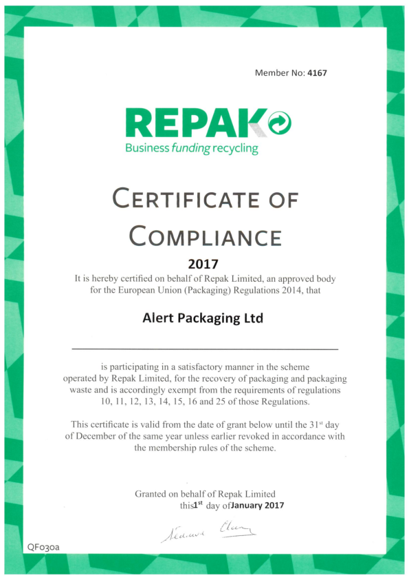 Alert Packaging Repak Certificate 2017
