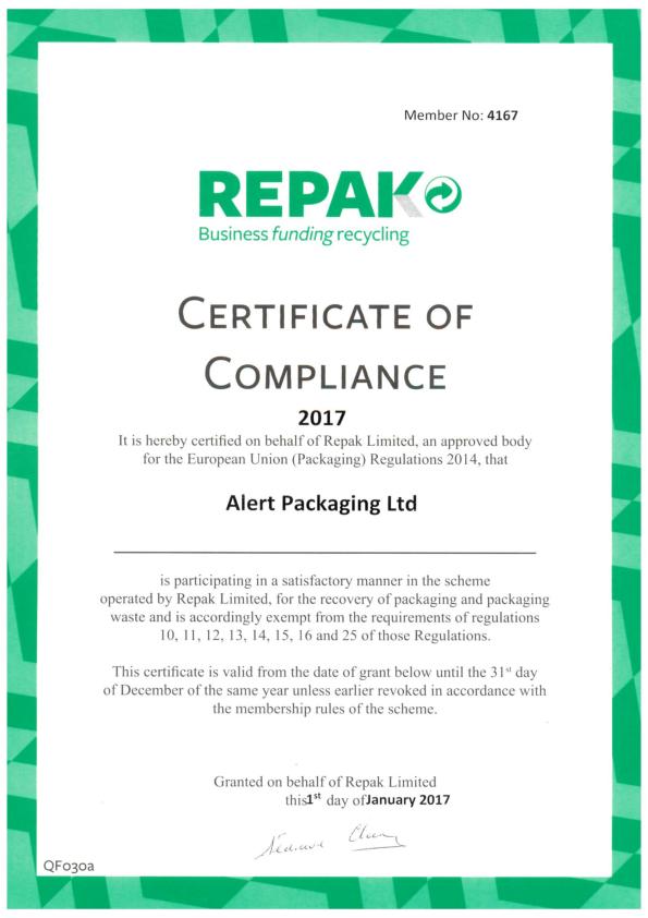 Alert Packaging Repak Certificate 2017